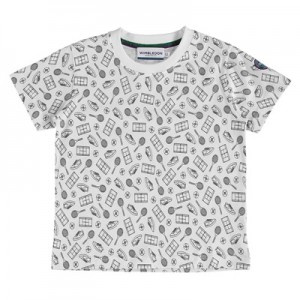 Wimbledon All Over Tennis Print  T-Shirt – White – Junior