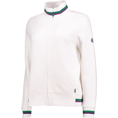 Wimbledon Zip Through Sweat Bomber – White – Ladies