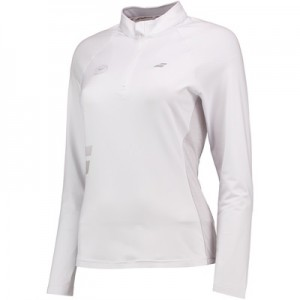 Wimbledon Babolat Core 1/2 Zip – White & Grey – Ladies