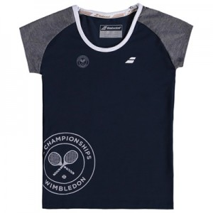 Wimbledon Babolat Core Flag T-Shirt – Dark Blue – Junior