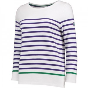 Wimbledon Breton Top – White/Purple – Ladies