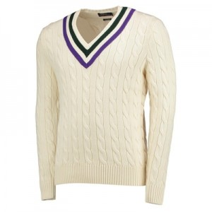 Wimbledon Ralph Lauren L/S V-Neck Sweatshirt – Cricket Cream