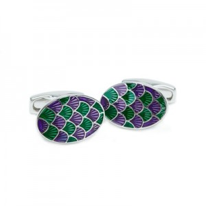 Wimbledon Shell Oval Cufflink – Green/Purple
