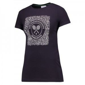 Wimbledon Ivy Racket T-Shirt – Midnight – Ladies