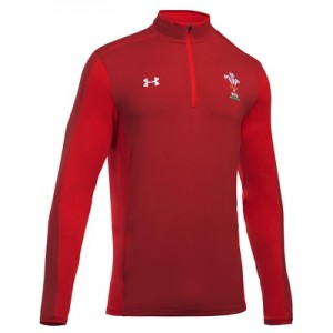 """Welsh Rugby 1/4 Zip Training Top – Daredevil Red – Mens"""