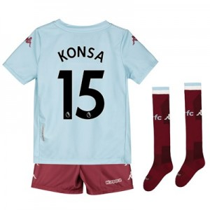 Aston Villa Away Minikit 2019-20 with Konsa 15 printing