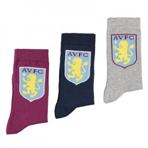 Aston Villa 3PK Classic Socks - Navy/Grey/Claret - Womens