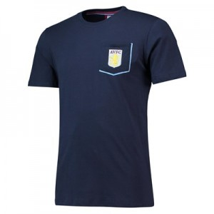 Aston Villa Core Pocket T-Shirt with Pop Contrast Colour - Navy- Mens