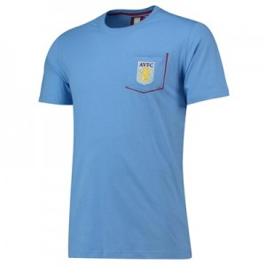 Aston Villa Core Pocket T-Shirt with Pop Contrast Colour -Sky-Mens