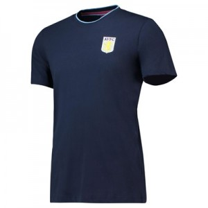 Aston Villa Core Basic Tipped Collar T-Shirt-Navy - Mens