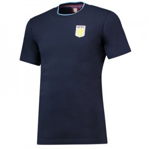 Aston Villa Core Classic Crest T-Shirt - Navy- Mens