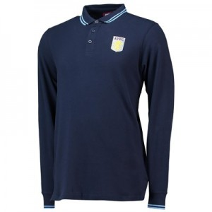 Aston Villa Core Long Sleeve Tipped Polo - Navy - Mens