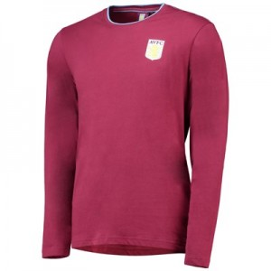 Aston Villa Core Long Sleeve T-Shirt With Chain Stitching -Claret- Mens