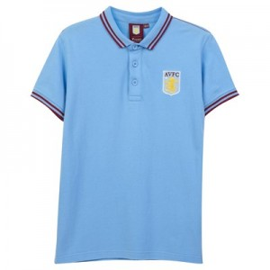 Aston Villa Core Tipped Short Sleeve Polo Shirt - Sky - Junior Boys