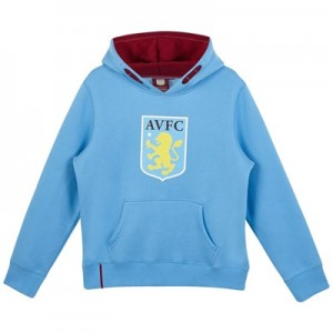 Aston Villa Core Large Crest Hoodie - Sky - Junior Boys