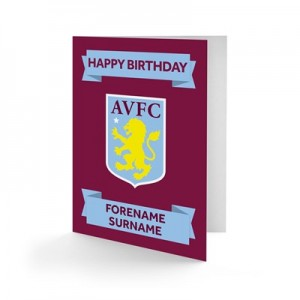 Aston Villa Personalised Crest Birthday Card