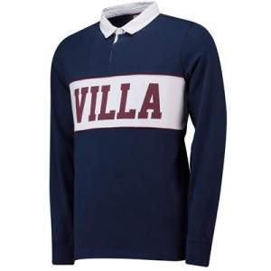 Aston Villa Cut And Sew Rugby Shirt - Navy - Mens