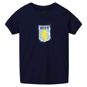 Aston Villa Splatter T Shirt - Navy - Kids