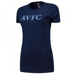 Aston Villa Wordmark T Shirt - Navy - Womens