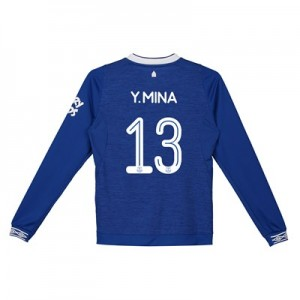 Everton Home Cup Shirt 2018-19 - Kids - Long Sleeve with Y.Mina 13 printing
