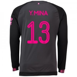 Everton Away Cup Shirt 2018-19 - Long Sleeve with Y.Mina 13 printing