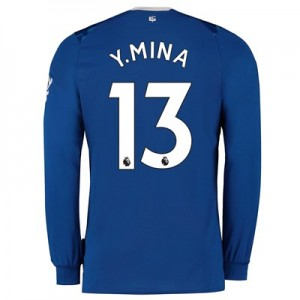 Everton Home Shirt 2019-20 - Kids - Long Sleeve with Y.Mina 13 printing