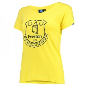 Everton Printed Crest T-Shirt - Yellow - Womens