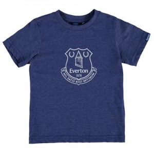 Everton Printed Crest T-Shirt - Royal Marl - Junior