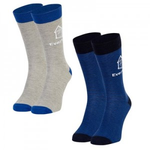 Everton 2 Pack Ankle Sock - Grey/Stripe - Mens