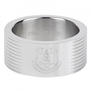 Everton Stripe Crest Band Ring - Stainless Steel