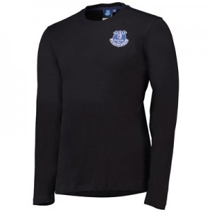 Everton Core Long Sleeve Basic Tee with Chain Stitching - Black - Mens
