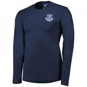 Everton Core Long Sleeve Basic Tee with Chain Stitching - Navy - Mens