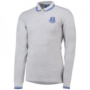 Everton Core Tipped Long Sleeve Polo -Grey Marl - Mens
