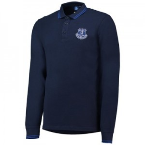 Everton Core Tipped Long Sleeve Polo -Navy - Mens
