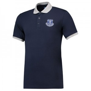 Everton Core Contrast Cuff and Collar Polo -Navy - Mens