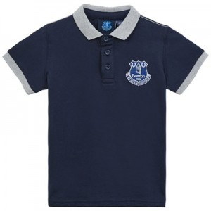 Everton Core Contrast Cuff and Collar Polo-Navy- Infant Boys