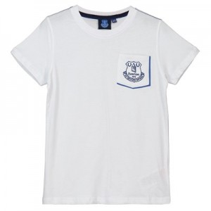 Everton Core Pocket Tee With Pop Contrast Colour-White-Junior Boys