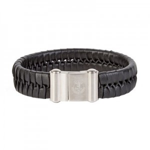 Everton Crest Leather Bracelet - Stainless Steel