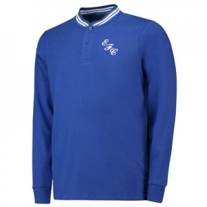 Everton Heritage Stripe Side Polo Long Sleeve - Royal - Mens