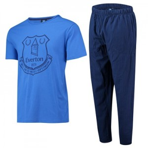 Everton Crest T and Woven Bottom Lounge Set - Royal / Navy - Mens