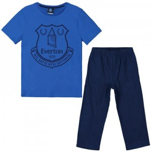 Everton Crest T and Woven Bottom Lounge Set - Royal / Navy - Boys