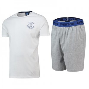 Everton Crest T and Short Lounge Set - White/ Grey Marl - Mens