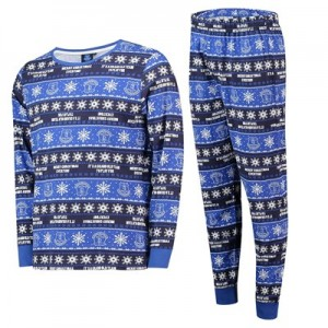 Everton Fairisle Christmas PJs - Royal / White - Mens