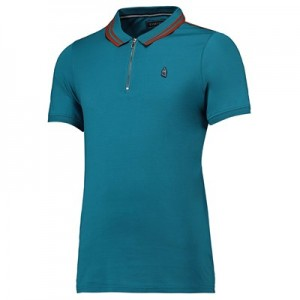 Everton Terrace Zip Front Polo Shirt - Teal - Mens