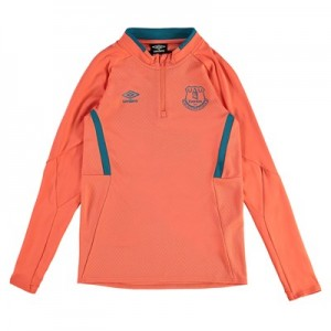Everton Training Half Zip Sweatshirt - Coral - Kids