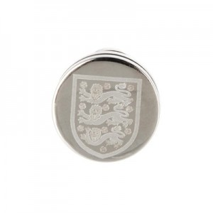 England Stainless Steel Round Crest Stud Earring - Single