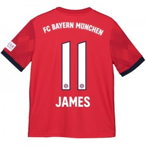 Bayern Munich Home Shirt 2018-19 - Kids with James 11 printing