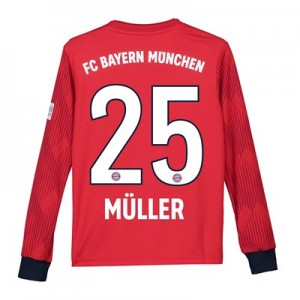 Bayern Munich Home Shirt 2018-19 - Kids - Long Sleeve with Müller 25 printing