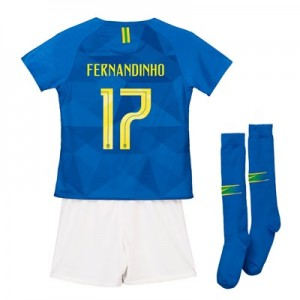 Brazil Away Stadium Kit 2018 - Infants with Fernandinho 17 printing
