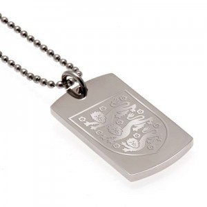 England Crest Dog Tag & Chain - Stainless Steel